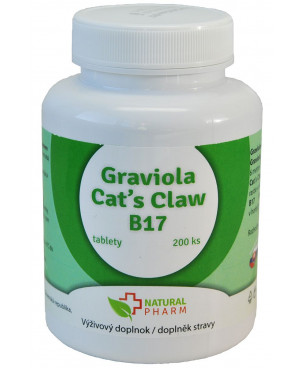 Natural Pharm Graviola + Cat´s Claw (Kočičí dráp) + B17 100 a 200 tablet